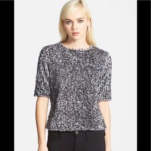 Search For Sanity L Black White Sequin Crop Top